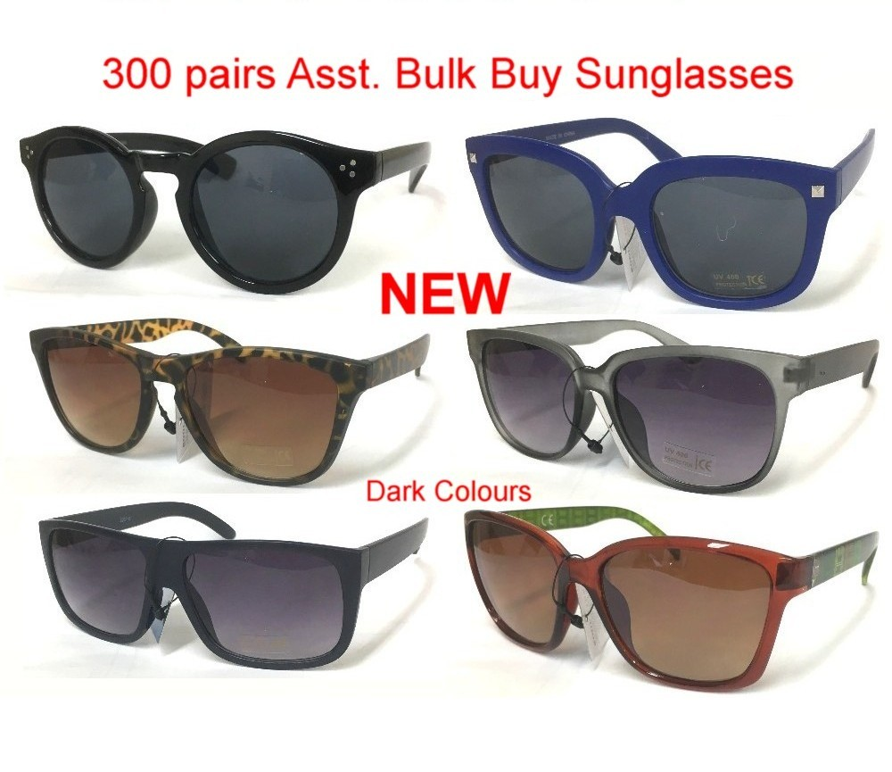 300pair Bulk Buy Dark Colour Plastic Fashion Sunglasses