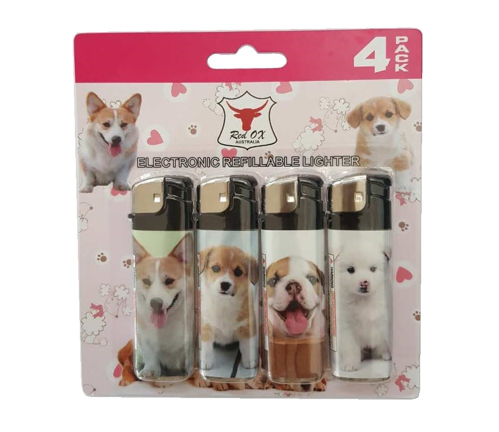 Dog Pack of 4 Electronic Gas Refillable Lighters RF-834-Dog-PK4