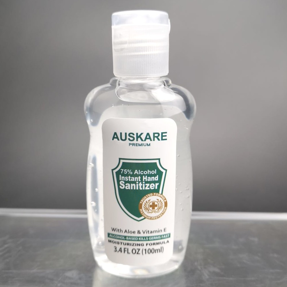 AusKare Hand Sanitizer 100ml - 75% Alcohol with Moisturizer and Vitamin E & Aloe Vera Gel