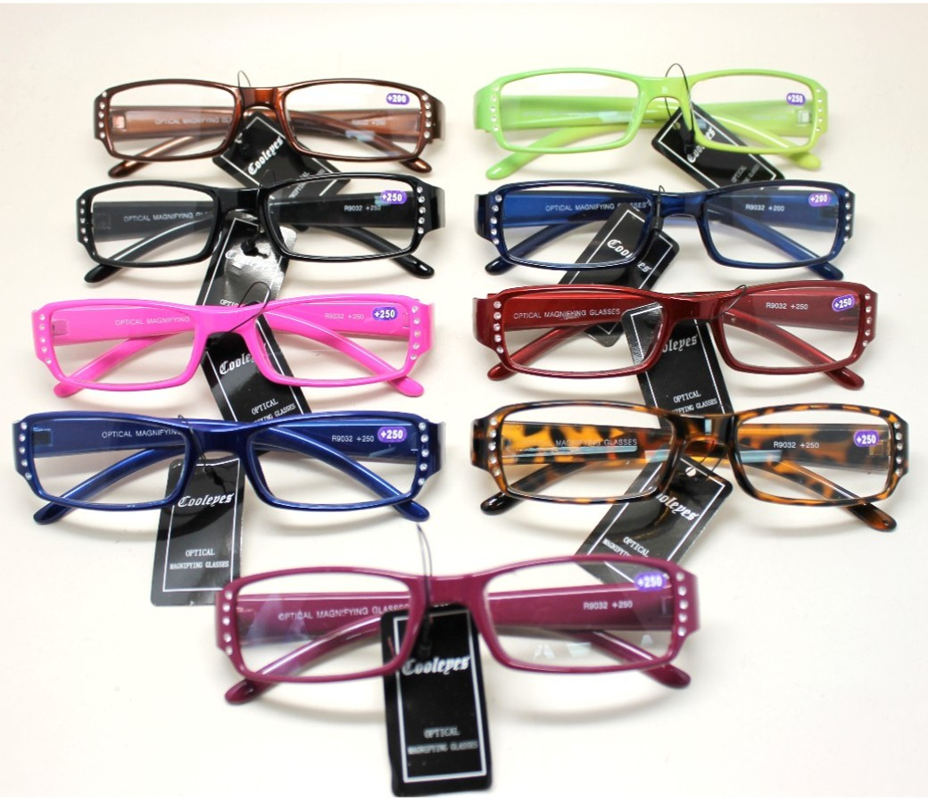 Ladies Rhinestone Reading Glasses Plastic Frame R9032