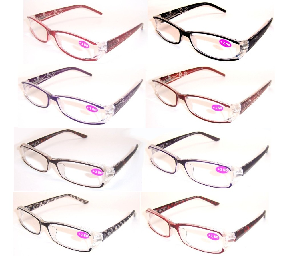 Fashion Reading Glasses Plastic Frame Spring Hinge (2 Style) R9069-R9070