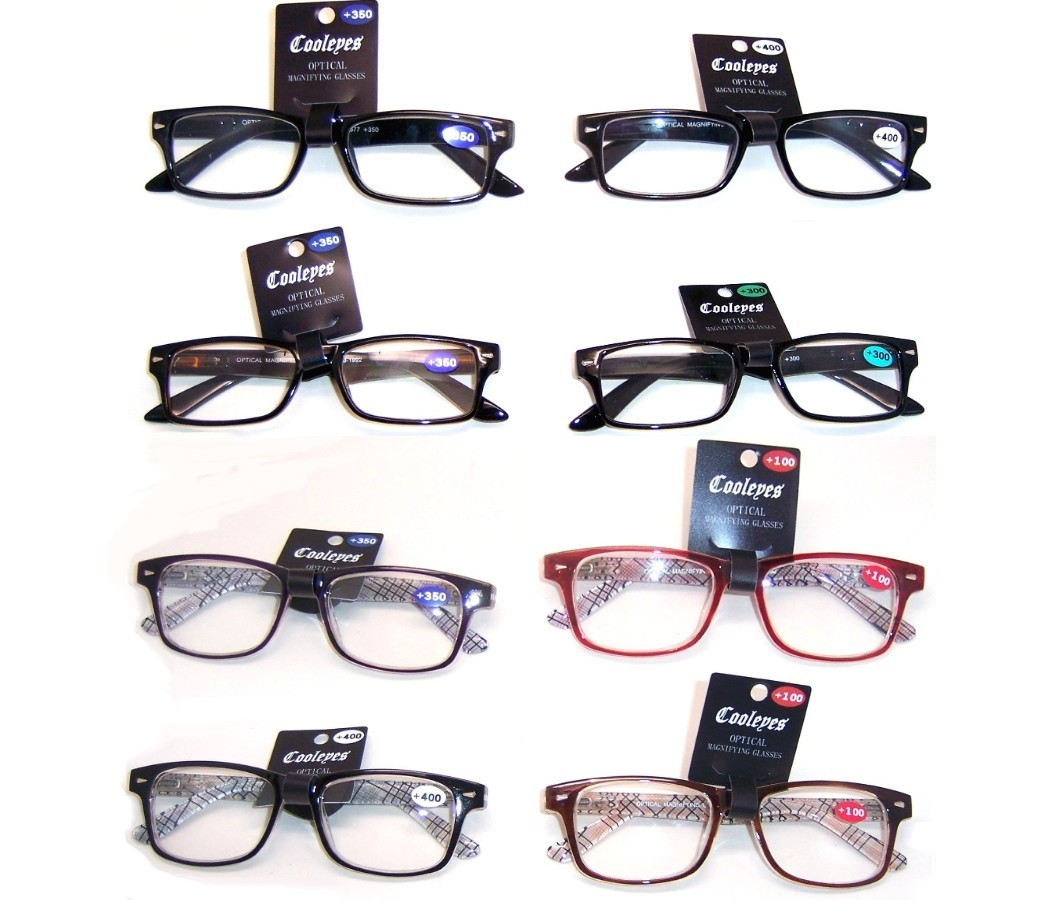 Fashion Reading Glasses Plastic Frame Spring Hinge (2 Style) R9077-R9078