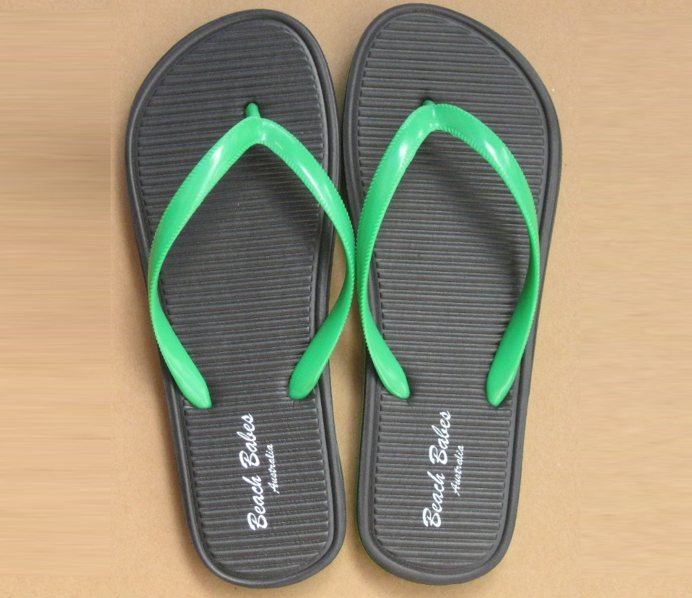 Ladies Fashion Beach Sandals - - Black/Green SLP-WH001