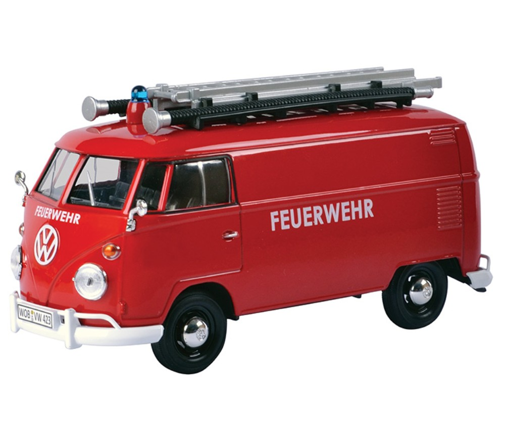 1:24 Volkswagen Type 2 (T1) Delivery Van - Fire Truck with Ladder and Nozzle (Red) MM79564FT