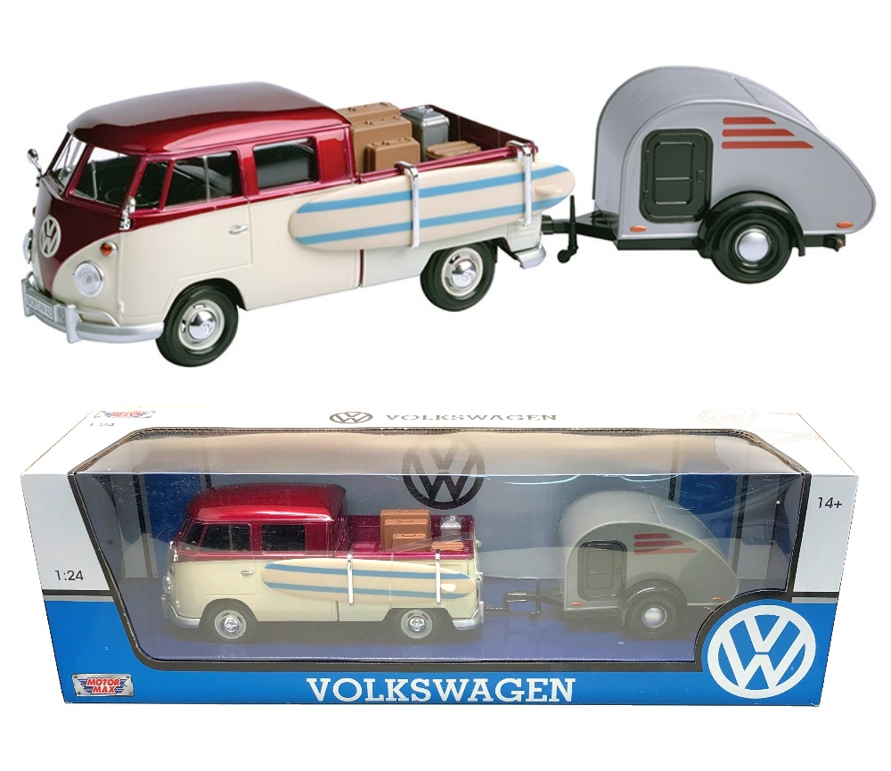 1:24 Volkswagen Type 2 (T1) - Surf Pick up and Tear Drop Trailer (White with Dark Red) MM79673ST