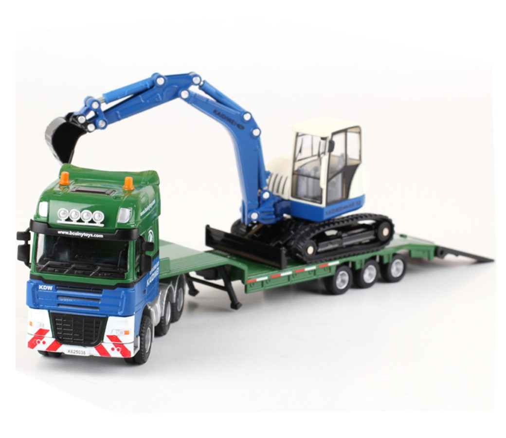 Flat Trailer with Excavator 1:50 Heavy Die cast Model DC-625038