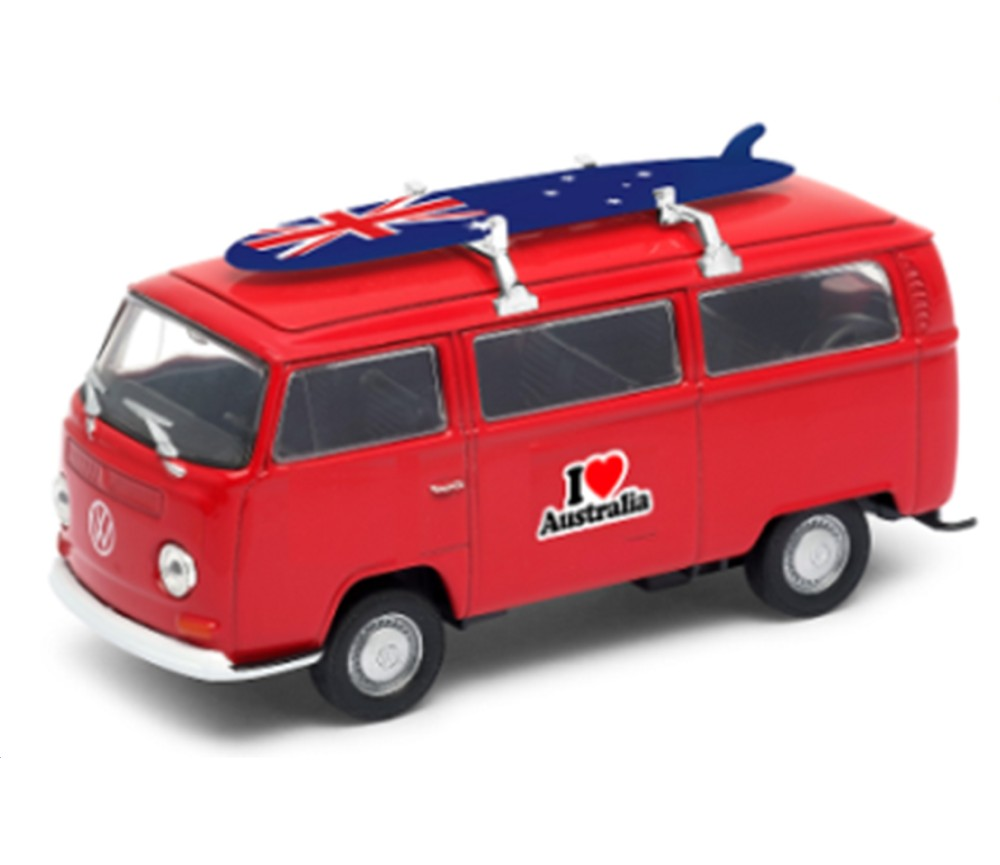 1972 VW Bus T2 with Surfboard & I Love Australia (1:38) WL42347SB-D-AU
